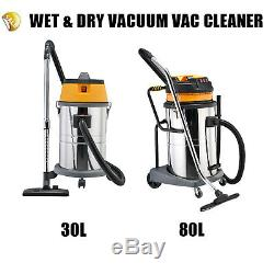 Wet& Dry Vacuum Vac Cleaner Industrial 30l 1500w 80l Litre 3600w Stainless Steel